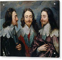 Charles I In Three Positions Acrylic Print by Anthony van Dyck