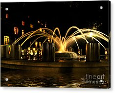 Acrylic Print featuring the photograph Charleston Fountain At Night by Kathy Baccari