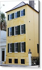 Charleston French Quarter Historical District Yellow House With Black Shutters - Historical Building Acrylic Print by Kathy Fornal