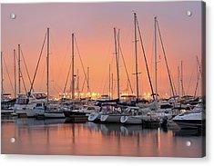 Charleston Harbor Marina At Sunset Acrylic Print