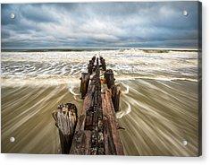 Charleston Sc Folly Beach Coastal Atlantic Ocean Acrylic Print by Dave Allen
