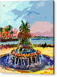 Charleston South Carolina Pineapple Fountain Painting Acrylic Print by Ginette Callaway