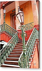 Charleston Staircase Street Lamps Architecture Acrylic Print by Kathy Fornal