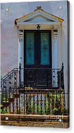 Charleston Wood Door Etched Glass Acrylic Print