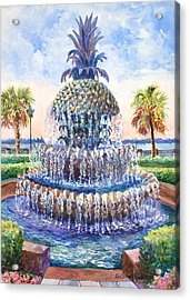 Charleston's Pineapple Fountain Acrylic Print by Alice Grimsley