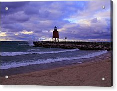 Charlevoix Lighthouse Sunset 1 Acrylic Print