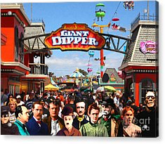 Charlie And Friends Cannot Decide Between The Giant Dipper The Sky Gliders Or The Side Shows V2 Acrylic Print