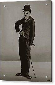 Charlie Chaplin Painting Acrylic Print by Paul Meijering