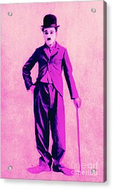 Charlie Chaplin The Tramp 20130216 Acrylic Print by Wingsdomain Art and Photography