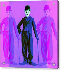 Charlie Chaplin The Tramp Three 20130216m108 Acrylic Print by Wingsdomain Art and Photography