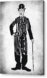 Charlie Chaplin Typography Poster Acrylic Print