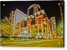 Charlotte City Skyline Night Scene Acrylic Print by Alex Grichenko