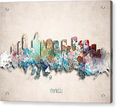 Charlotte Painted City Skyline Acrylic Print by World Art Prints And Designs