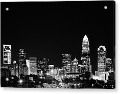Charlotte Skyline At Night Black And White Acrylic Print by Fred Koehl