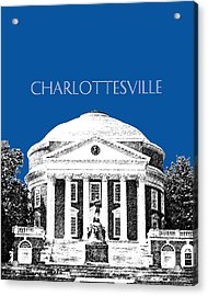 Charlottesville Va Skyline University Of Virginia - Royal Blue Acrylic Print by DB Artist