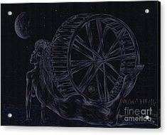 Acrylic Print featuring the drawing Charm Of The Moon. by Kenneth Clarke
