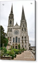 Chartres Cathedral And Esplanade Acrylic Print by Olivier Le Queinec