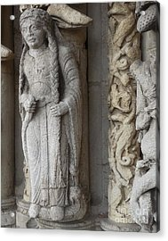 Acrylic Print featuring the photograph Chartres Cathedral Female Pilgrim by Deborah Smolinske