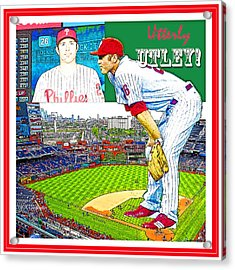 Chase Utley Poster Utterly Utley Acrylic Print by A Gurmankin