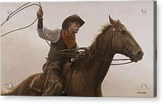 Acrylic Print featuring the painting Chasin Em Down by Ron Crabb