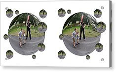 Chasing Bubbles - Cross Your Eyes And Focus On The Middle Image That Appears Acrylic Print by Brian Wallace