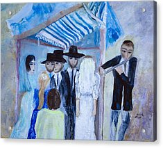 Acrylic Print featuring the painting Chassidic Wedding by Aleezah Selinger