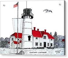 Chatham Lighthouse Drawing Acrylic Print by Frederic Kohli