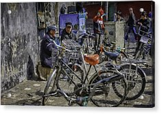 Chatting Amongst The Bikes Acrylic Print by Barb Hauxwell