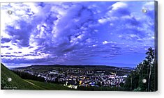 Checiny Town Blue Hour Panorama Acrylic Print