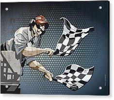 Checkered Flag Grunge Color Acrylic Print by Frank Ramspott