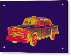Checkered Taxi Cab Pop Art Acrylic Print by Keith Webber Jr