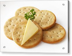 Cheddar Cheese And Crackers Acrylic Print by Colin and Linda McKie