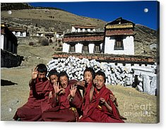 Cheeky Young Tibetan Monks Acrylic Print by James Brunker