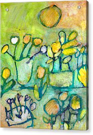 Acrylic Print featuring the mixed media Cheerful Garden by Catherine Redmayne
