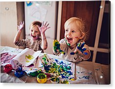 Cheerful Little Children Having Fun Doing Finger Painting Acrylic Print by Wundervisuals