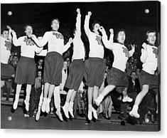 Cheerleaders Jump For Joy Acrylic Print by Underwood Archives
