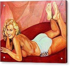Cheesecake Marilyn Acrylic Print by John Kennedy Wilson