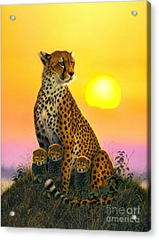 Cheetah And Cubs Acrylic Print by MGL Studio - Chris Hiett