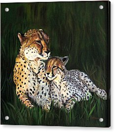 Acrylic Print featuring the painting Cheetahs by LaVonne Hand