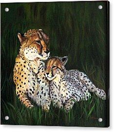 Cheetahs Acrylic Print by LaVonne Hand