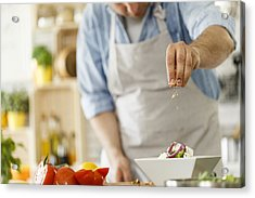 Chef Decorating A Plate With Healthy Salad Acrylic Print by Fotostorm