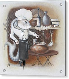 Acrylic Print featuring the painting Chef by Marina Gnetetsky