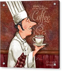 Chef Smell The Coffee Acrylic Print by Shari Warren