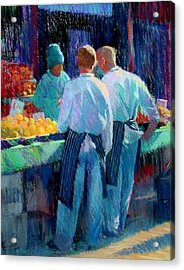 Chefs At The Market Acrylic Print by Jackie Simmonds