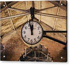 Acrylic Print featuring the photograph Chelsea Market Clock by Kim Fearheiley