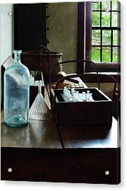 Chemist - Bottles Of Chemicals In A Wooden Box Acrylic Print by Susan Savad