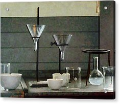 Chemist - Funnels Flasks And Crucibles Acrylic Print by Susan Savad