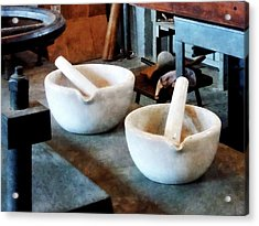 Chemist - Two Mortars And Pestles In Lab Acrylic Print by Susan Savad