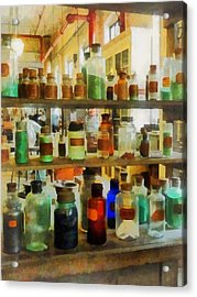 Chemistry - Bottles Of Chemicals Green And Brown Acrylic Print by Susan Savad