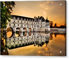 Chenonceau Castle In The Twilight Painting Acrylic Print